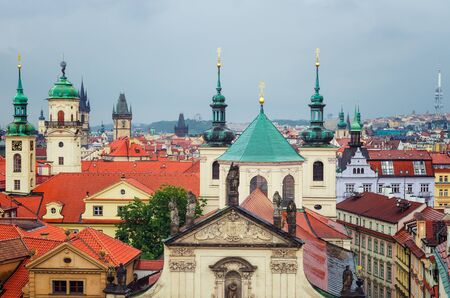 A rainy view over Old Town and some of the towers in Prague, Czech Republic