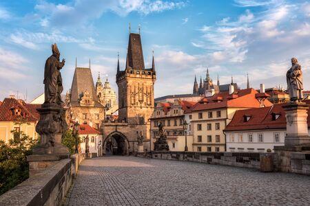 Beautiful sunny morning view of Charles Bridge in Prague, Czech Republic