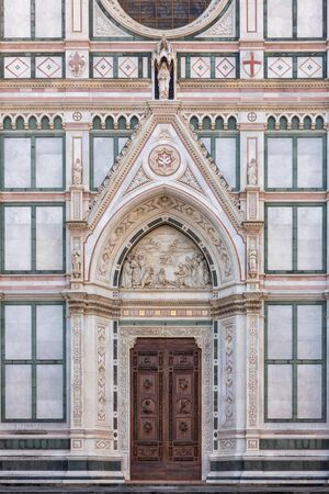 Architectural fragment of Florence Basilica of Holy Cross (Santa Croce) - largest Franciscan church in world, Florence, Italy. 写真素材