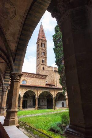 Internal court yard of Basilica of Santa Maria Novella in Florence, Italy