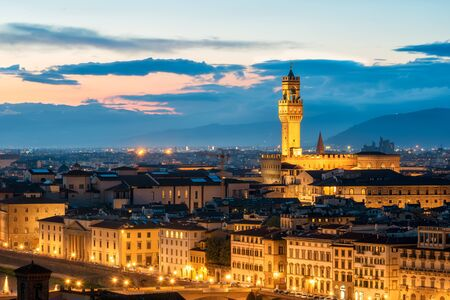Amazing night view of Florence city, Italy with Palazzo Vecchio. 写真素材