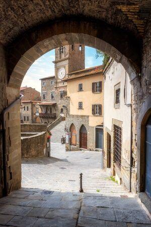 Amazing view with the main square Piazza della Repubblica with town hall in Cortona, Italy.