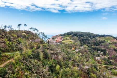 Beautiful view with part of the Ligurian coast in the Cinque Terre area.