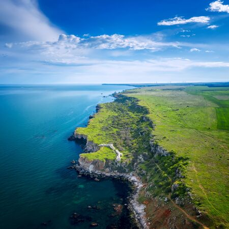 Aerial view with picturesque rocky coastline, nature park Yailata at the Black Sea coast, Bulgaria. 写真素材