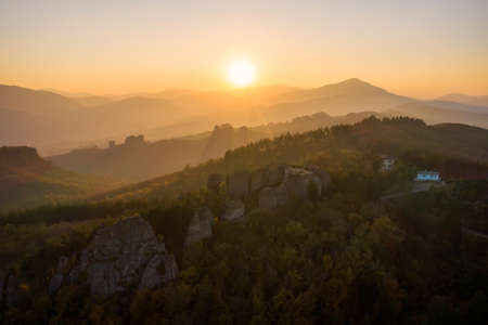Amazing aerial autumn view of a mountain peaks at sunset , Balkan Mountains, Bulgaria 写真素材