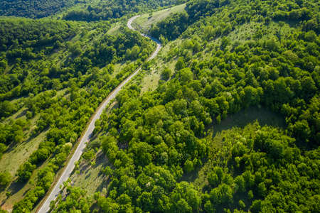 Aerial view of a road passing through a picturesque green forest in mountain 免版税图像
