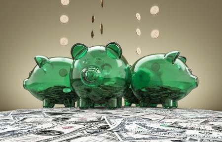 Piggy Bank And Falling Dollar Coins. Green glass piggy bank and falling dollars coins. Glass pigs earn money on money dollars hillock.