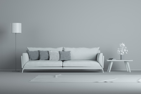 Stock Photo   White Interior Design Minimal Style Concept. Gray Modern Sofa  In Gray Living Room
