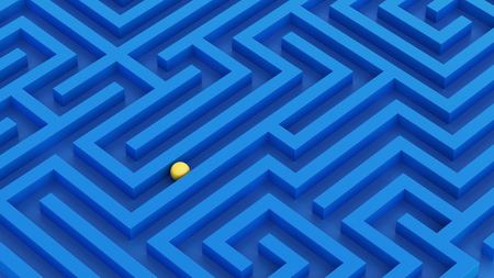Maze concept with metal ball inside. Abstractive minimal background idea