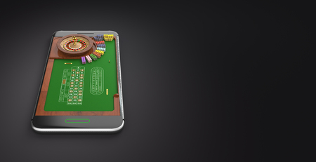 Mobile phone screen roulette game concept 3d illustration. Minimal gambling background design