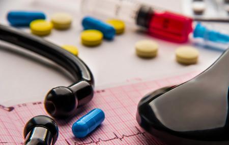 plastic syringe, pills and stethoscope on cardiogram