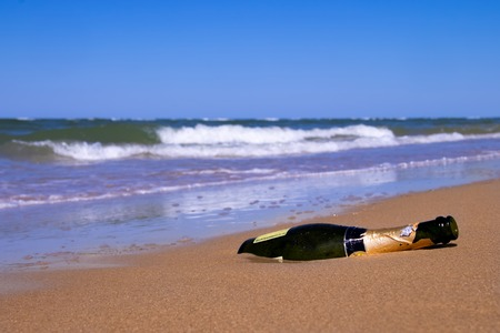 Empty bottle of champagne was taken to the shore by a storm