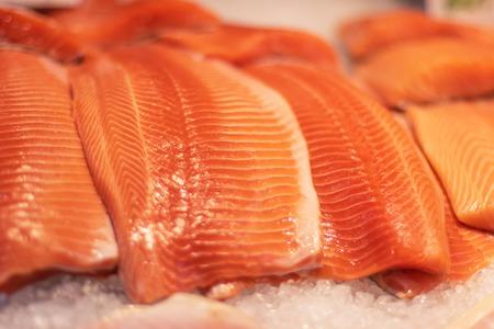 Fresh salmon fillet on ice in market. Frash fish, healthy food Stok Fotoğraf