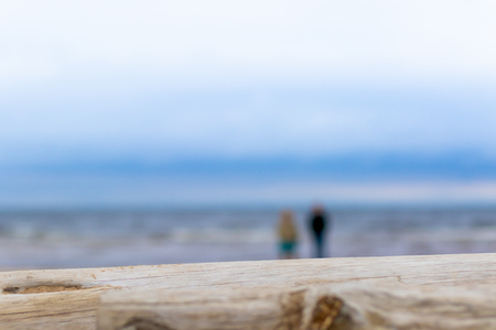 An old log on a beach and couple of lovers on the beach are not in focus Baltic sea on background. Love concept.