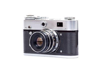 Vintage camera on a white background, retro photo camera isolated
