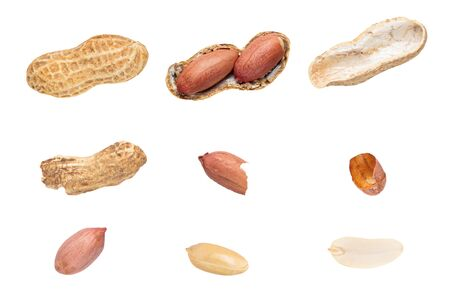 Raw peanuts top view isolated on white background unshelled, shelled, husk, whole, halves