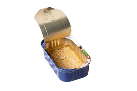 Empty fish can. Opened empty metal tin. Isolated on white background with shadow reflection. With clipping path.