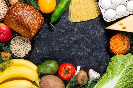 Conceptual image of healthy food balance with vegetables and fruits. Nutrition and diet picture with copyspace