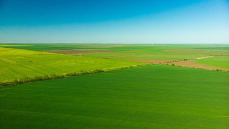 Aerial view over rural area with rape fields and green areas