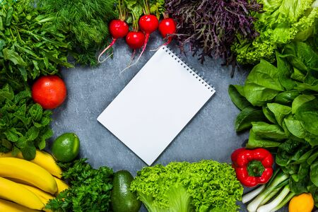 Conceptual image of healthy food balance menu with vegetables and fruits. Nutrition and diet picture with copyspace