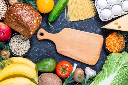Conceptual image of healthy food balance with vegetables and fruits. Nutrition and diet menu picture with copyspace