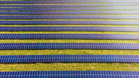 photovoltaic solar power panel on sky background, green clean Alternative power energy concept.