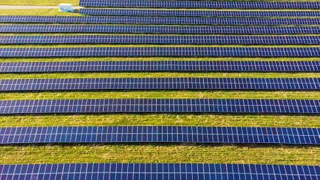 Commercial solar plant installation, solar energy 免版税图像