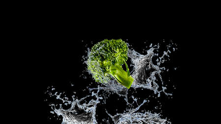Nutrition and diet food picture with fresh broccoli and water splash isolated on black background 免版税图像