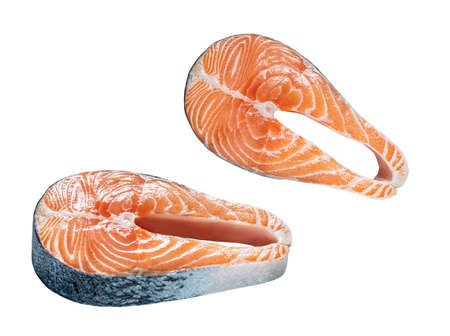 Set of a frash salmon steaks isolated on a white background. Salmon fish isolated