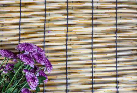wood blinds: purple Flowers placed on a woven wood blinds 1 Stock Photo