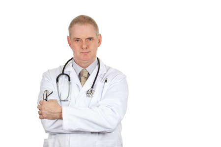 bata blanca: Portrait of a doctor wearing a white coat and stethoscope on a pure white background Foto de archivo