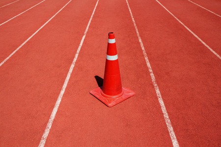 traffic cone: Running track with traffic cone Stock Photo