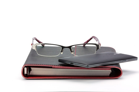 Business concept. Notebook, Smart phone and Glasses