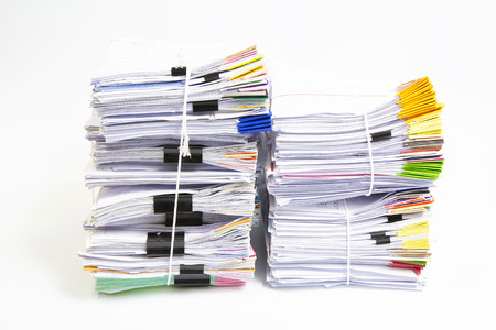 Stack of business papers isolated on white background Archivio Fotografico