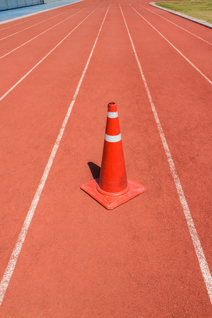 Running track with traffic cone Imagens - 38228428