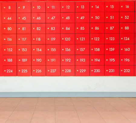 Rows of red  post office boxes. photo