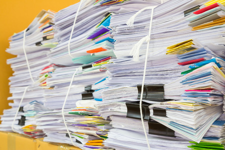stack of business papers,Soft focus