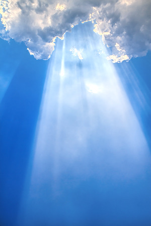 Beam of light and the clouds