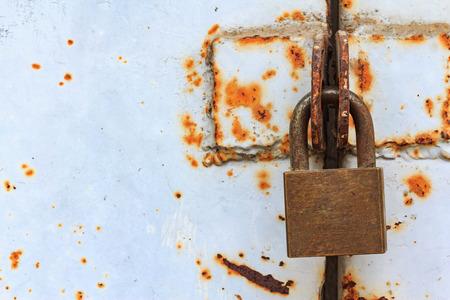 sense of security: Closeup rusty lock