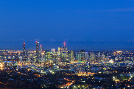 city panorama: Night View of the Brisbane City from Mount Coot-tha. Queensland, Australia. Stock Photo