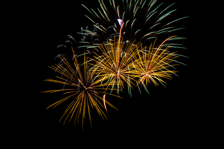 glow pyrotechnics: Colorful fireworks over dark sky