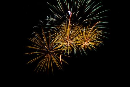 artifice: Colorful fireworks over dark sky