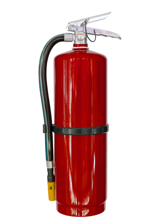 fire extinguishers: Red chemical fire extinguishers isolated on white background
