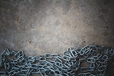 iron chain: Chain on concrete floor background, Vintage Effect Stock Photo