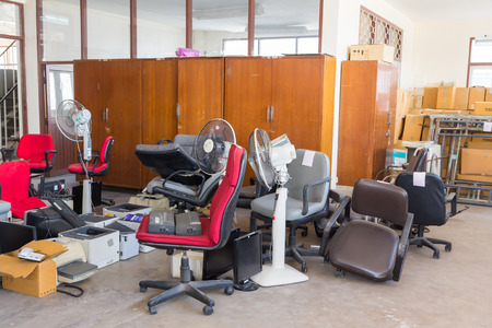 vintage furniture: Abandoned office equipments