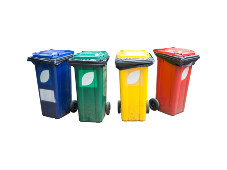 bins: Colorful Recycle Bins Isolated Over White Background. Stock Photo