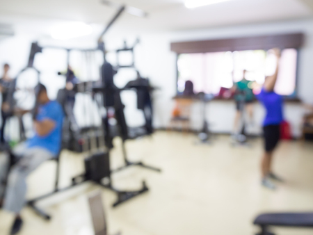 powerfully: Blurred image of people workout at sport club