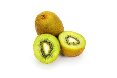 Close up kiwi fruits and slice kiwi fruits isolated on white background, Copy space Stock Photo