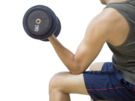 powerfully: Closeup of a young athlete man lifting weights at sport club,Isolated on white background with Clipping path