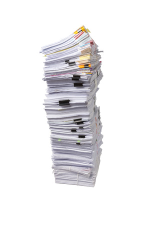 Stack of business papers isolated on white background Stock fotó